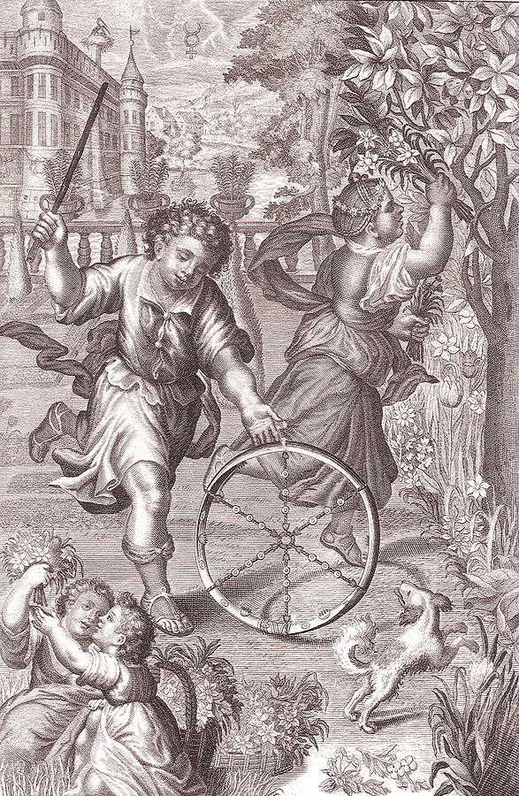 Spring Drawing - Allegory Of Spring Antique Print by Village Antiques