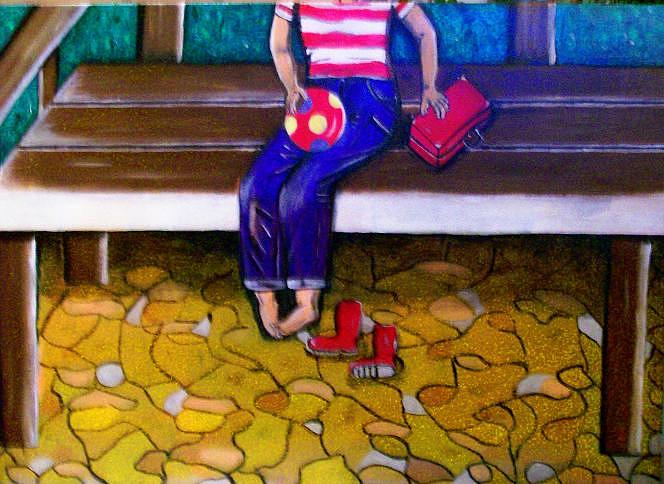 Menschen Painting - Allein by Mamu Art