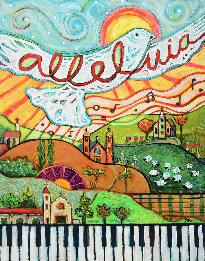 White Dove Painting - Alleluia by Jen Norton