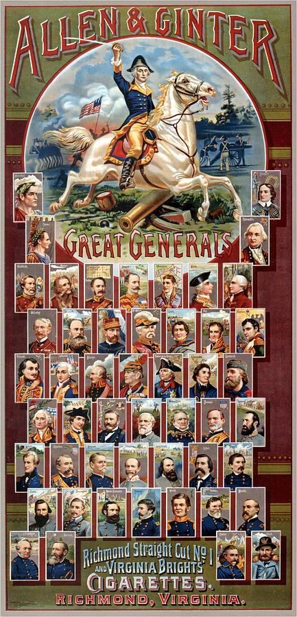 Allen And Ginter - Great Generals - Virginia Brights Cigarettes - Vintage Advertising Poster Mixed Media