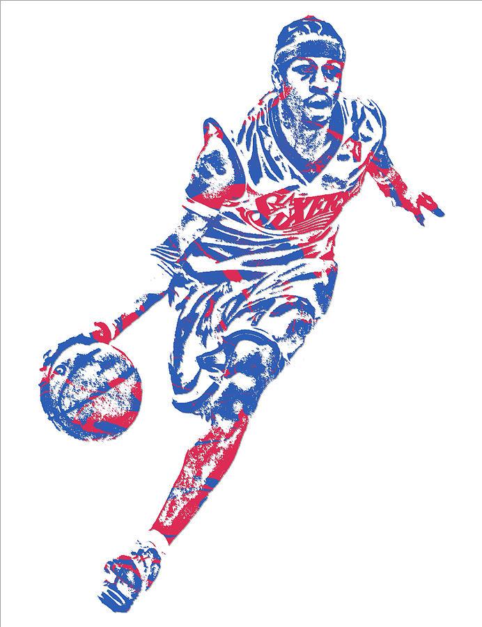Allen Iverson Philadelphia 76ers Pixel Art 10 Mixed Media