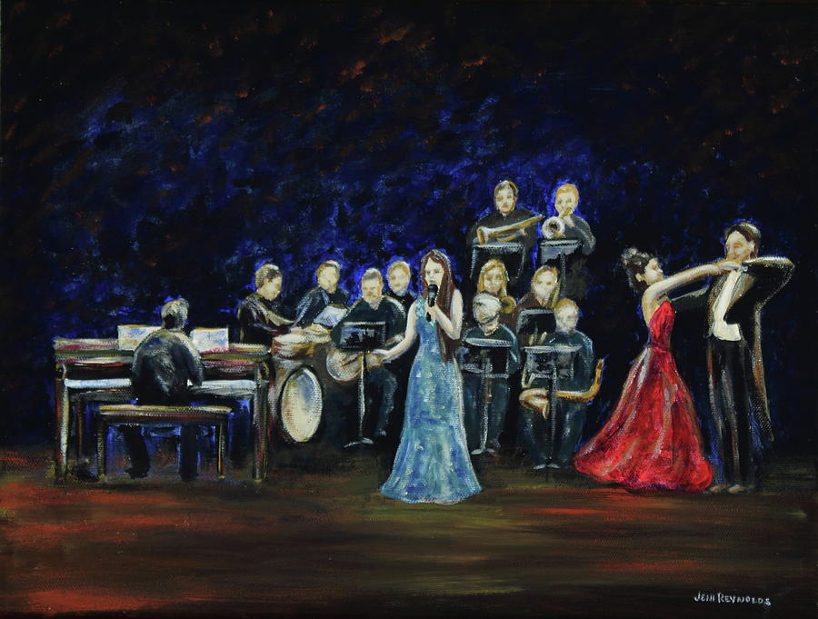 Jazz Painting - Allen Myers Jazz Orchestra by Jeni Reynolds