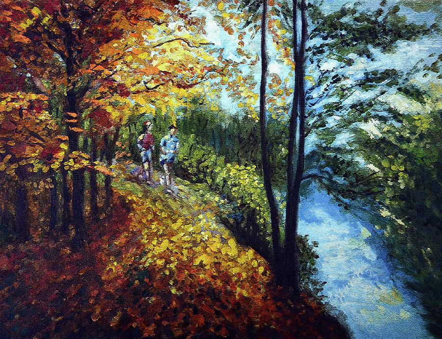 Lake Painting - Alley By The Lake 1 by Harsh Malik