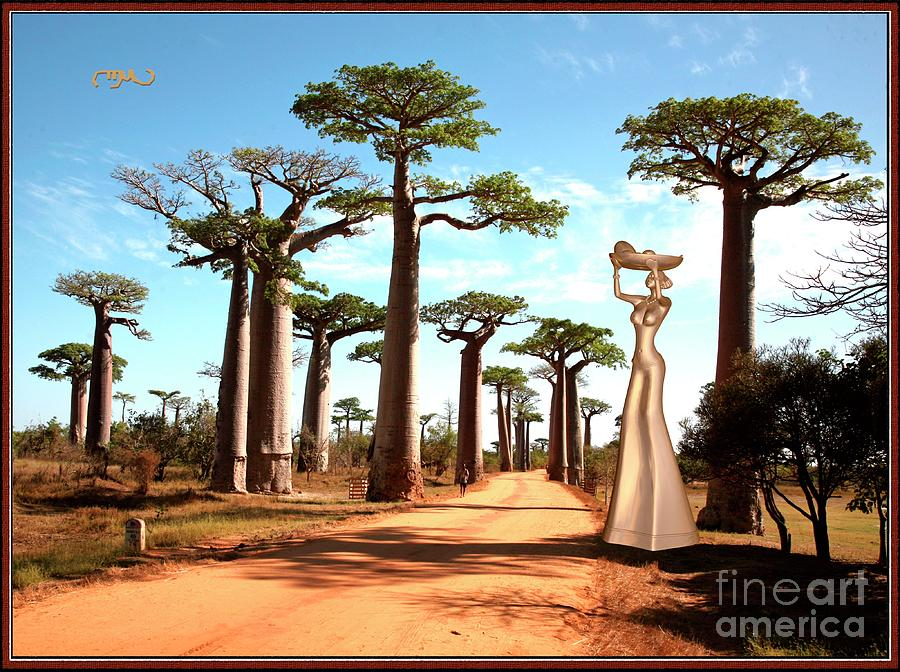 Post-impressionism Digital Art - alley of baobabs and a statue of a  Girl by Pemaro