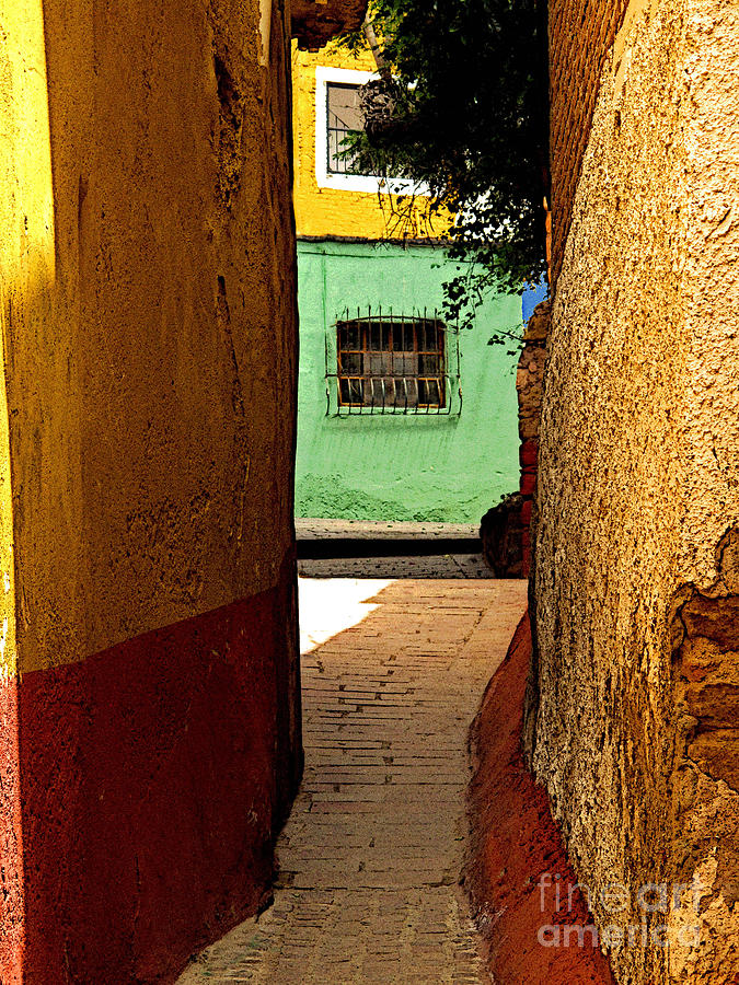 Darian Day Photograph - Alley With The Green Casa by Mexicolors Art Photography