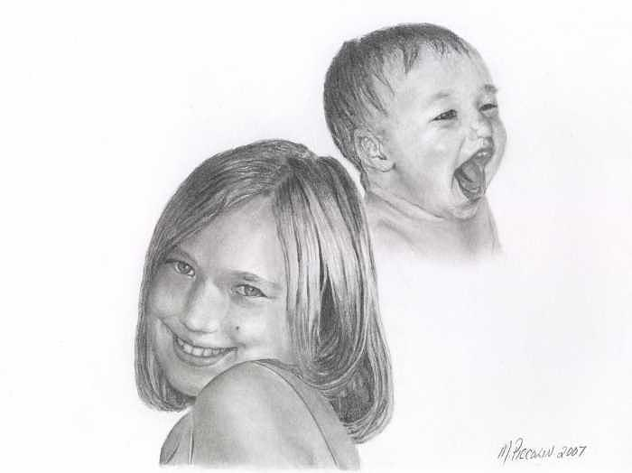 Allie then and now Drawing by Marlene Piccolin