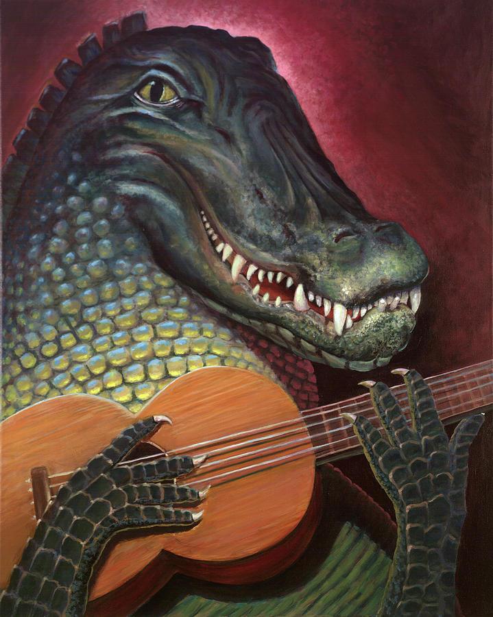 Alligator Painting - Alligator Al by Peter Bonk
