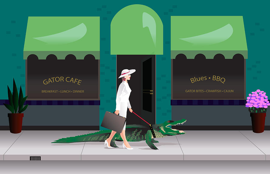 Promotions Digital Art - Alligator Walk by Robert Korhonen