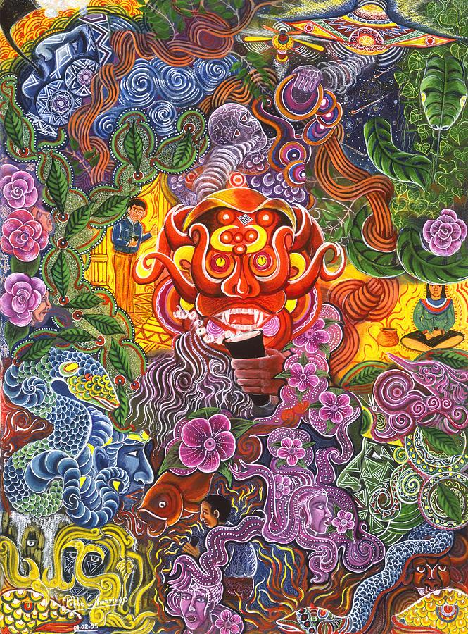 Pablo Amaringo Painting - Allpa Manchari by Pablo Amaringo