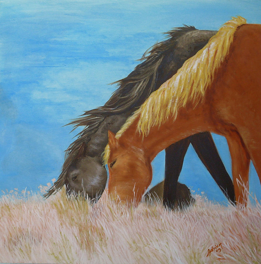 Horses Painting - Almoco by Adrian Olteanu