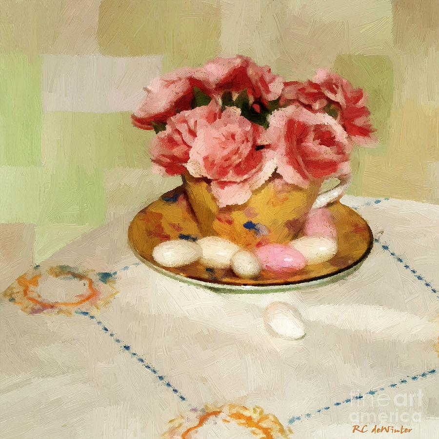 Almonds Painting - Almond Blossom Tea by RC DeWinter