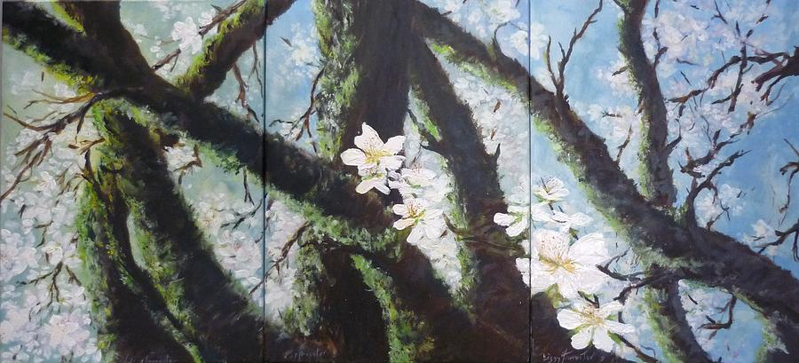 Almond Blossom Triptych Painting