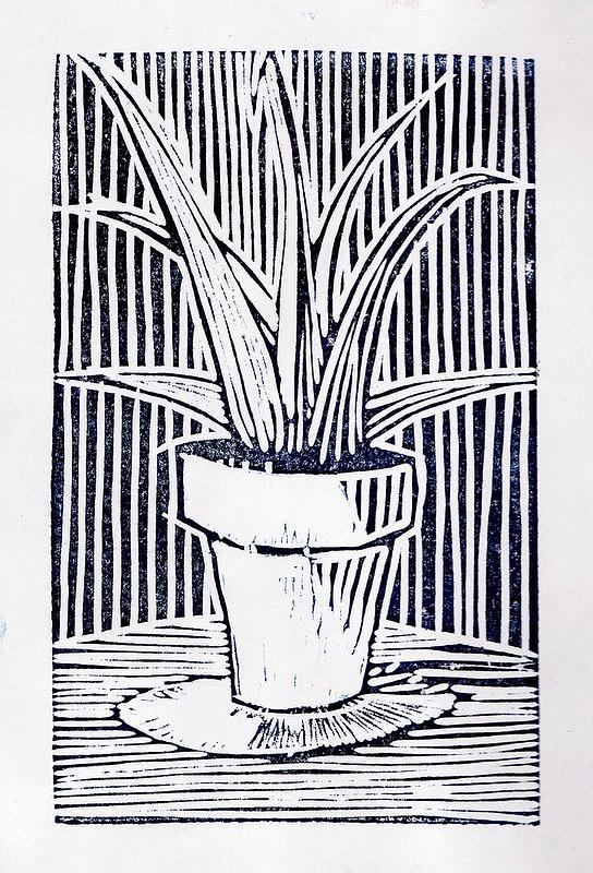 Woodcut Painting - Aloe Vera by Daniel Ribeiro
