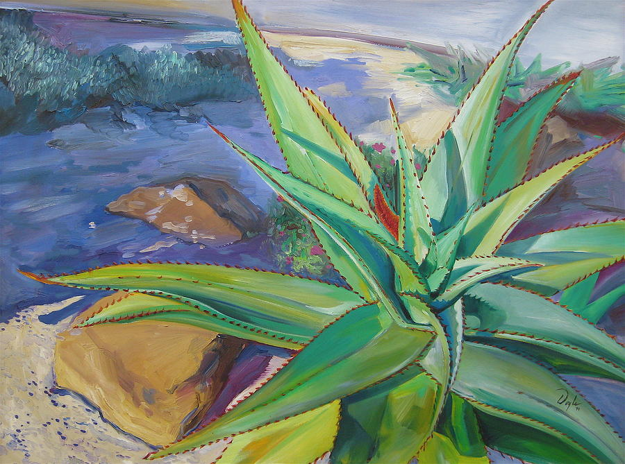 Plants Painting - Aloe vera number two by Karen Doyle
