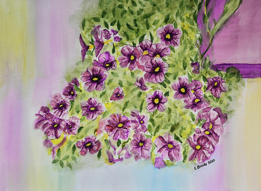 Aloha Purple Sky Calibrachoa Watercolor Painting Painting