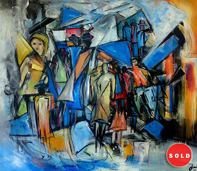 Abstract Figurative Painting - Alone Amon People by Talal Ghadban