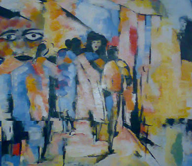 Figurative Abstract Painting - Alone Among The People by Talal Ghadban