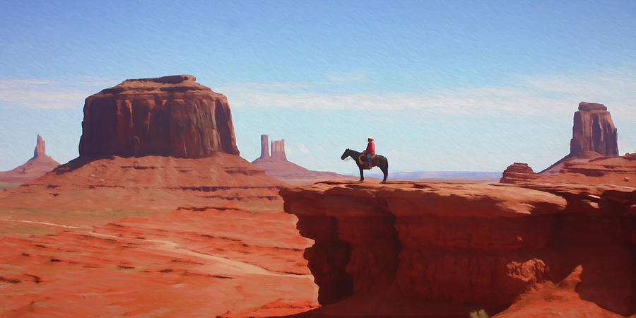 Cowboy Digital Art - Alone At The Top by Ronald Bolokofsky