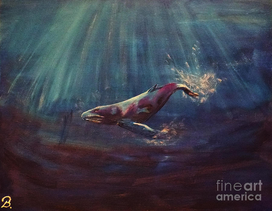 Whales Painting - Alone by Brenda Gagnon