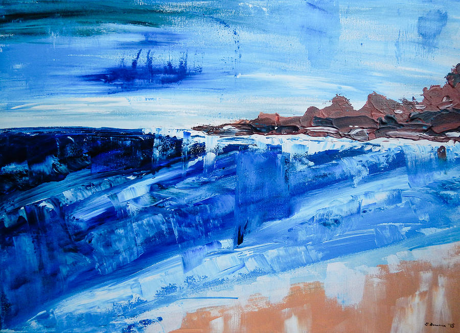 Abstract Seascape Painting - Alone by the Sea Abstract Seascape by Eliza Donovan