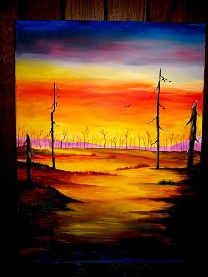 Landscape Painting - Alone by Glory Fraulein Wolfe