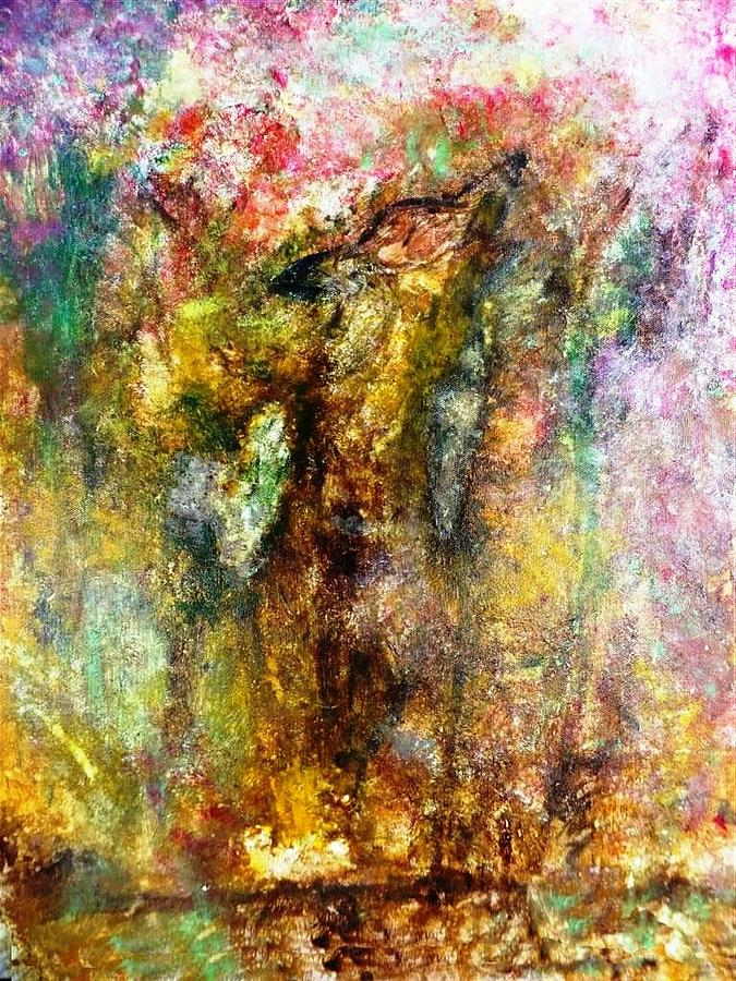 Wolf Painting - Alone In Autumn Painting by Amy Drago