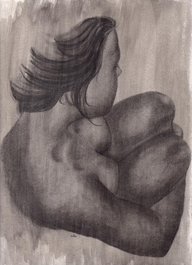 Nude Drawing - Alone by Ina Digby