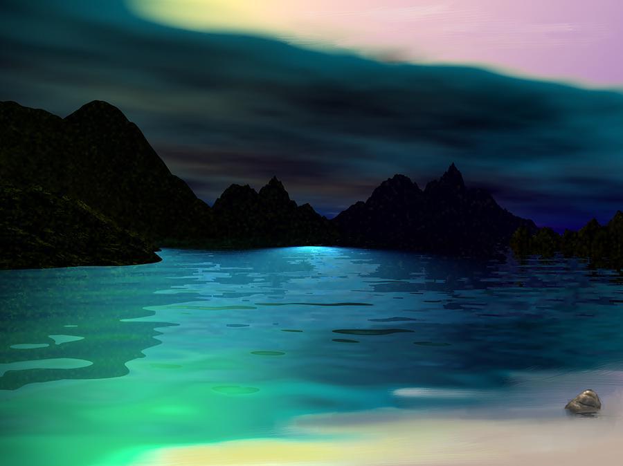 Seascape Digital Art - Alone On The Beach by David Lane