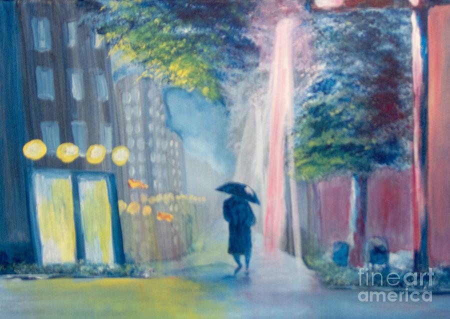 Cityscape Painting - Alone by Saundra Johnson