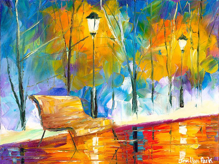 Bench Painting - Alone Time by Jessilyn Park