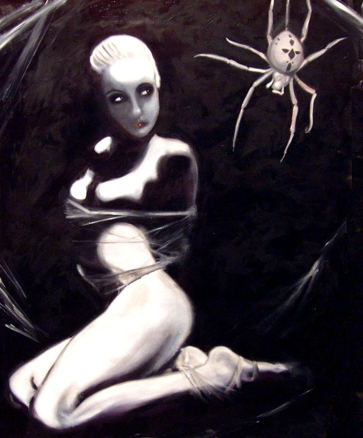 Erotic Painting - Along Came a Spider... by Nathaniel Milljour