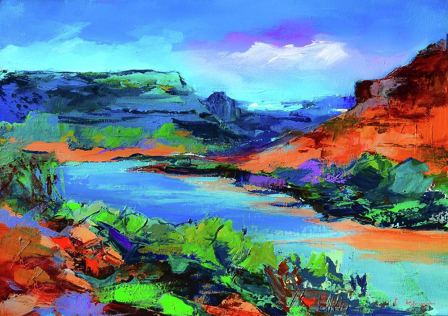 Colorado River Painting - Along Colorado River - Utah by Elise Palmigiani