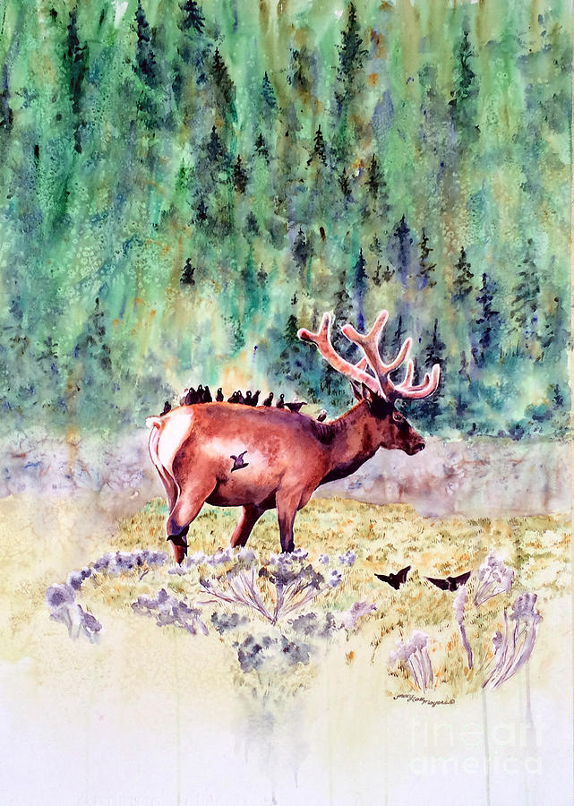 Elk Painting - Along For The Ride by Tracy Rose Moyers