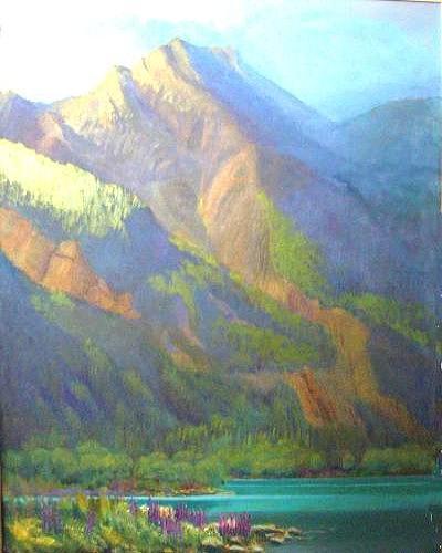 Jasper Painting - Along the Fiddle River   Jasper  by Carol Hama Chang