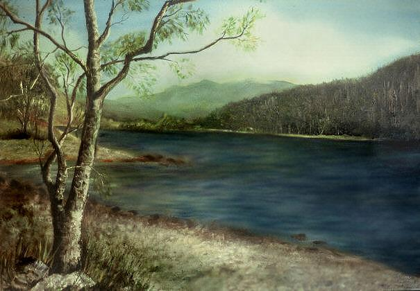 Landscape Painting - Along The Loch by Day Seriani