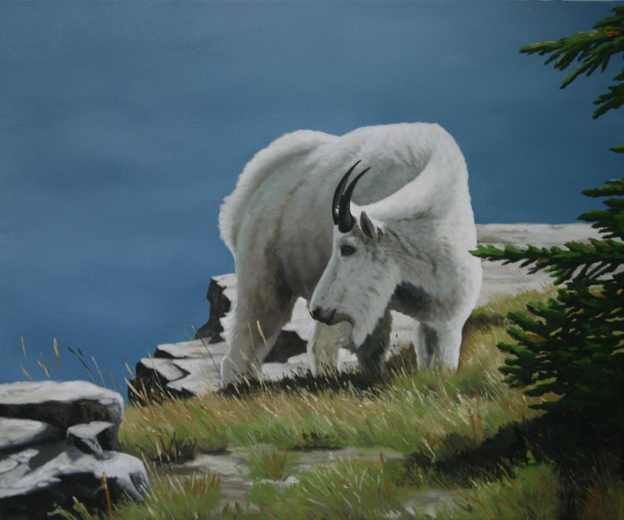 Mountain Goat Painting - Along The Ridge by Jennifer Batey