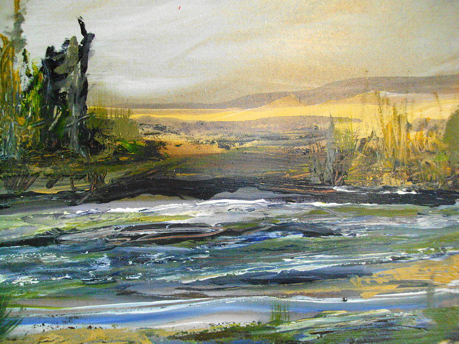 River Painting - Along The River by Linda King