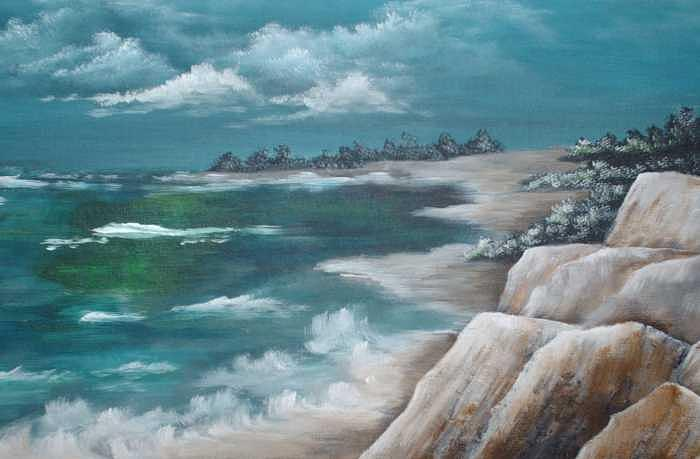Along The Rocks Painting by Brenda Coster