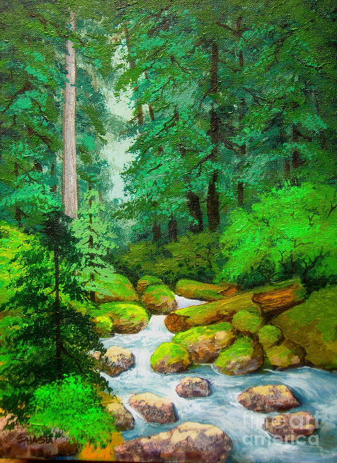 Landscape Painting - Along  The  Rogue by Shasta Eone