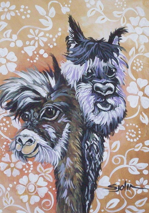 Alpacas Painting - Alpaca Do-bee  Brothers by Patty Sjolin