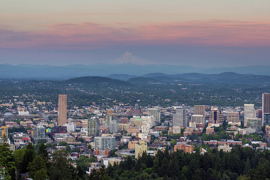 Portland Photograph - Alpenglow over Portland Oregon Cityscape by David Gn