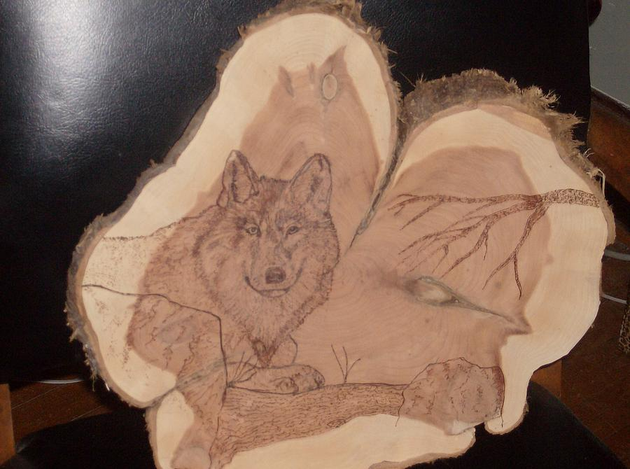 Wolf Pyrography - Alpha Wolf by Doug Crete