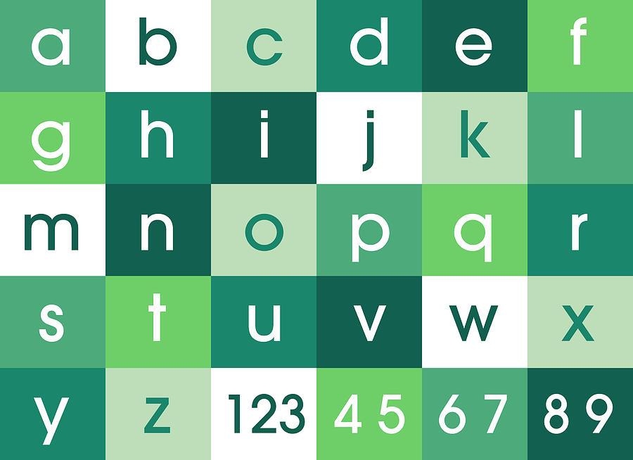 Alphabet Digital Art - Alphabet Green by Michael Tompsett