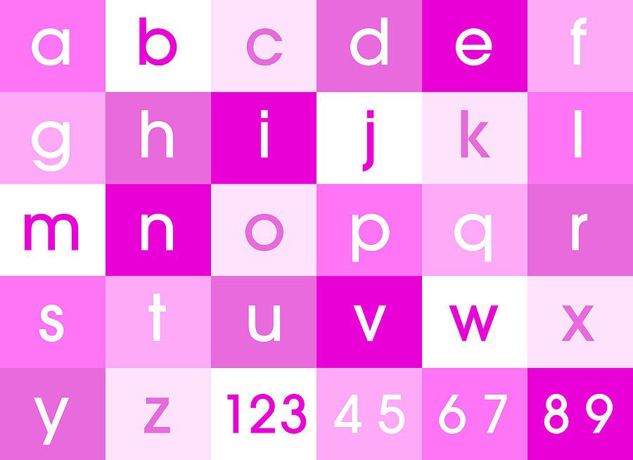 Alphabet Canvas Digital Art - Alphabet Pink by Michael Tompsett