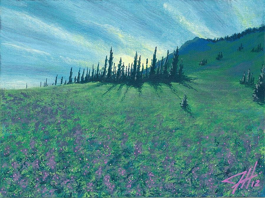 Landscape Drawing - Alpine Hillside by Dave Herrling