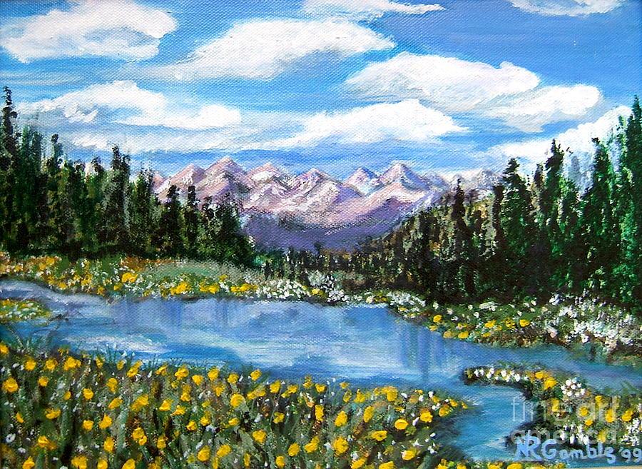 Landscape Painting - Alpine Lake Colorado Usa by Nancy Rucker