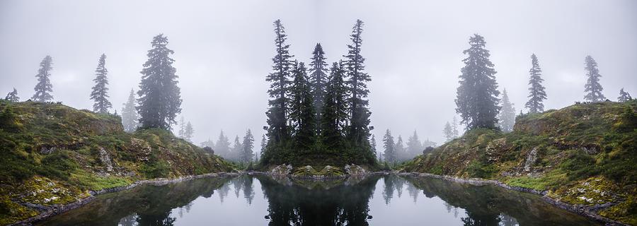Alpine Lake Reflection Digital Art