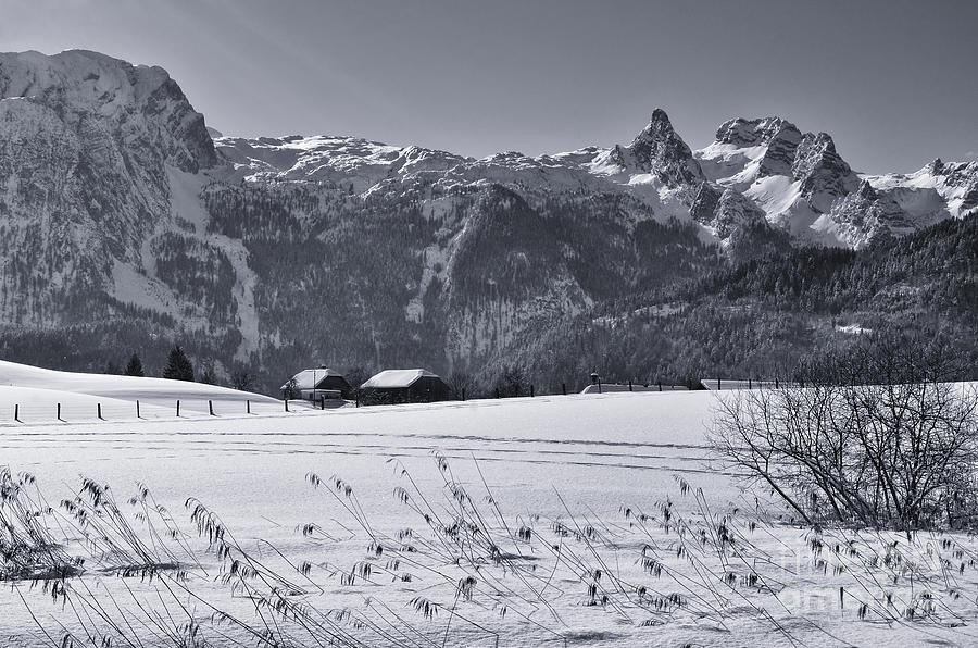 Alpine Mountain Range In Black And White Photograph