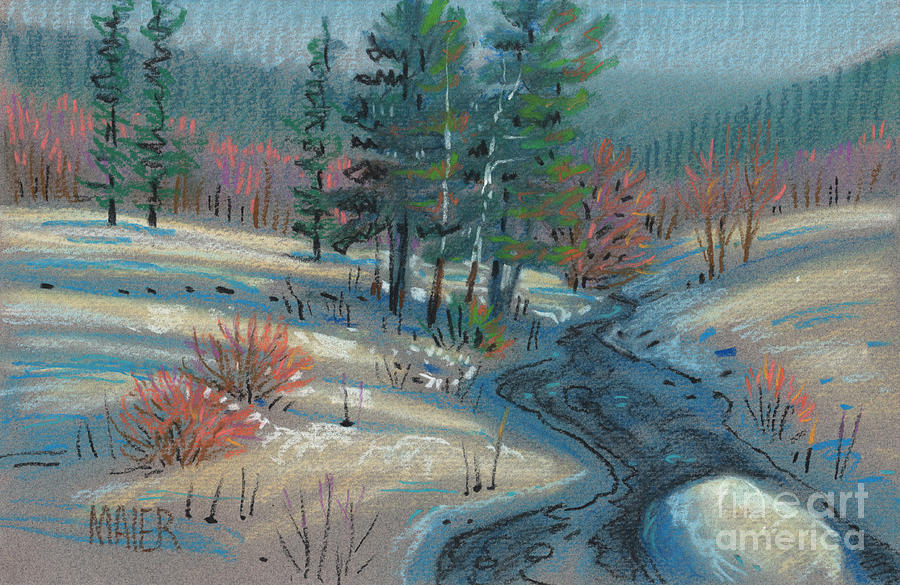 Alpine Drawing - Alpine Stream by Donald Maier