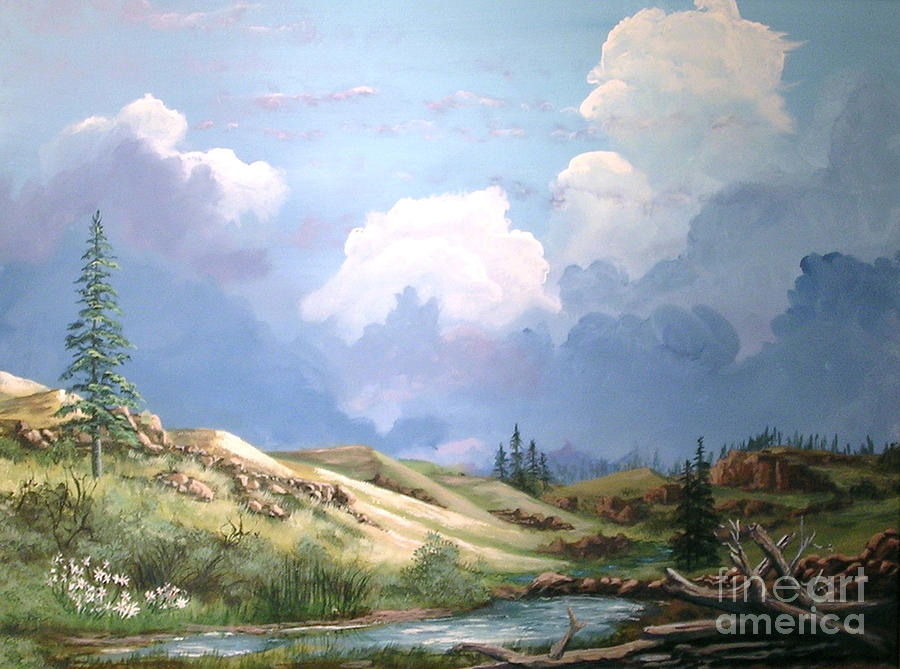 Clouds Painting - Alpine Vale by John Wise